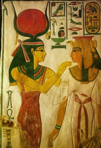 Hathor (left) welcomes the Egyptian queen Nefertari (right) to the afterlife.