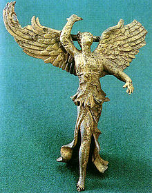 http://www.hellenicaworld.The Greek goddess Niki personifies Winged Victory.