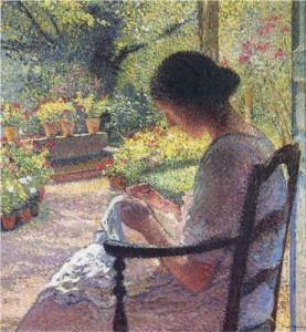 A Woman Sewing by Henri Martin.